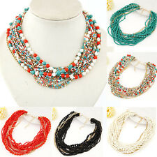 Fashion Beads Pendant Chain Crystal Choker Chunky Statement Bib Necklace Jewelry