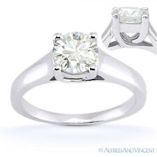Round Brilliant Cut Moissanite 14k White Gold Trellis Solitaire Engagement Ring