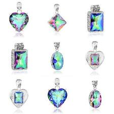 Summer Holiday Gift Rainbow Mystical Topaz Gems Solid Silver Necklace Pendant
