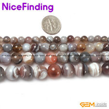 Natural Round Smooth Botswana Agate Loose Gemstone Beads For Jewelry Making 15''