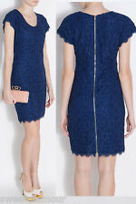 $365 Diane Von Furstenberg DVF Blue Moon Wanda Stretch Lace Sheath Dress 8