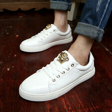 Men's Comfy Head Metal Leather Casual Slip On Loafer Shoes sneakers Shoes