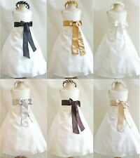Beautiful Ivory gold black brown silver recital flower girl dress all sizes