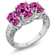 4.20 Ct Oval Pink Created Sapphire 925 Sterling Silver Ring
