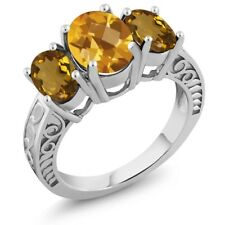 2.70 Ct Oval Checkerboard Yellow Citrine Whiskey Quartz 925 Sterling Silver Ring