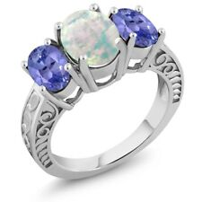 2.10 Ct Oval Cabochon White Opal Blue Tanzanite 925 Sterling Silver Ring