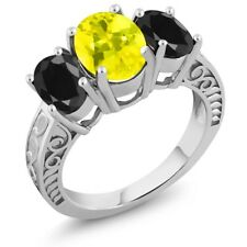 3.94 Ct Oval Canary Mystic Topaz Black Sapphire 925 Sterling Silver Ring