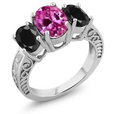 4.54 Ct Oval Pink Created Sapphire Black Sapphire 925 Sterling Silver Ring