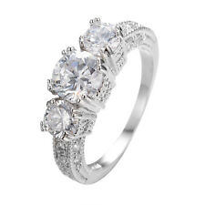 5.0/CT White Sapphire Women's Band 10KT White Gold Filled Wedding Ring Size 5-12