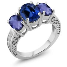 3.60 Ct Oval Blue Simulated Sapphire Blue Iolite 925 Sterling Silver Ring