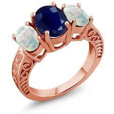 3.76 Ct Oval Blue Sapphire White Simulated Opal 18K Rose Gold Plated Silver Ring