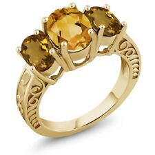 2.90 Ct Oval Yellow Citrine Whiskey Quartz 18K Yellow Gold Plated Silver Ring