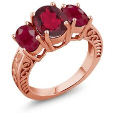 3.84 Ct Oval Red Mystic Quartz Red Ruby 18K Rose Gold Plated Silver Ring