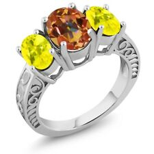 3.40 Ct Oval Ecstasy Mystic Topaz Canary Mystic Topaz 925 Sterling Silver Ring