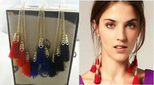 E203 BETSEY JOHNSON Red Blue Black Tassels Suit Cocktail Dress Earrings US