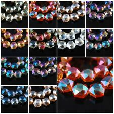 10pcs Charms Glass Crystal Faceted Hexagon Findings Spacer Beads 18mm FREE SHIP