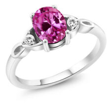 1.69 Ct Oval Pink Created Sapphire White Sapphire 925 Sterling Silver Ring
