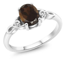 1.24 Ct Oval Brown Smoky Quartz White Sapphire 925 Sterling Silver Ring