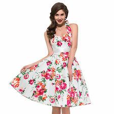 Design Vintage 1950s TEA Length Dress SWING FLORAL Rockabilly Party Pin Up Dress