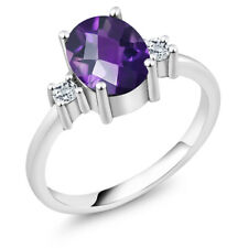 1.76 Ct Oval Checkerboard Purple Amethyst White Topaz 925 Sterling Silver Ring