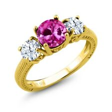 3.16 Ct Round Pink Created Sapphire 18K Yellow Gold Plated Silver Ring