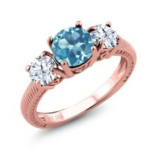 2.40 Ct Round Swiss Blue Topaz White Topaz 18K Rose Gold Plated Silver Ring