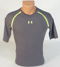 Under Armour Football Gray & Lime Short Sleeve Compression Shirt Mens NWT