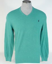 Polo Ralph Lauren Green Cotton & Cashmere V Neck Sweater Blue Polo Pony Mens NWT