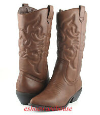 Dark Tan Awesome Embossed Stitch Detail Western Cowboy Cowgirl Boots