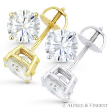 Forever Brilliant 6.00 ct Round Cut Moissanite 14k Gold Screwback Stud Earrings