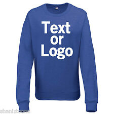 Ladies Womens Sweatshirt Royal Blue and Heather Grey Personalised Text Logo