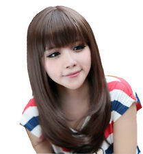 Fashion Women Long Straight Brown Heat Resistant Hair Wig New Hot Wigs Free Ship