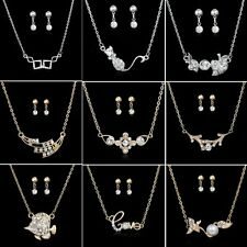 New Arrival Jewellery Set Stylish Elegant Pearl Crystal Necklace Earrings Gifts