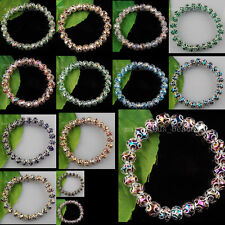 "Multicolor Crystal Faceted Beads Peanut Stretch Bracelet Stretch 7 ""  WB0107"