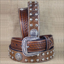 WESTERN ARIAT LEATHER MENS BELT STUDS CONCHOS BASKET WEAVE BROWN 32-46 inches
