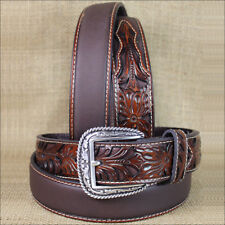 WESTERN ARIAT SILVER BUCKLE LEATHER MENS BELT TOOLED FLORAL TAN 32-46 INCHES