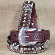 WESTERN NOCONA CONCHOS RHINESTONES HAIR BROWN LEATHER MENS BELT 32-46 INCHES