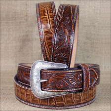 WESTERN NOCONA LEATHER MENS BELT GATOR TOOLED  RICH EARTH BROWN 32-46 INCHES