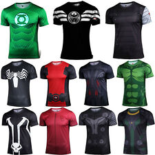 Hommes Boys Superhero Compression T-shirt à manches courtes Sport Casual Top Tee