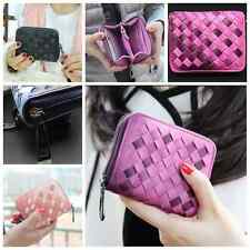 New Women's Fashion Leather Wallet Gradient weave Purse Mini Lady Short Handbag