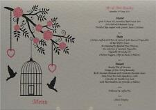 A5 Personalised Ivory Wedding Table Menu Card Bird Cage Hollow Heart Design