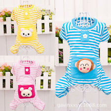 Small Pet Dog Stripes Pajamas Cat Puppy Coat Clothes Apparel with Cute Animal