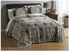 "MyHome ""Jemma"" Chenille Bedspread in Brown/Neutral"
