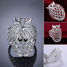 Explosion Sterling silver plated owl ring jewelry creative size 7-8 Fashion Jewe