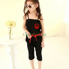 Kids Girls 3D Flowers Elastic Waist Summer Sleeveless Strap Jumpsuit Rompers New