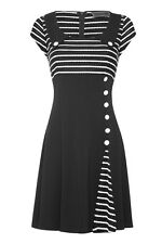 Voodoo Vixen Sailor Striped SLIT Retro DRESS / Vintage Kleid Rockabilly