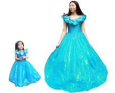 2015 New Adults Kids Girls Cinderella Blue Fancy Dress Princess Cosplay Costume