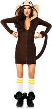 Cozy Monkey Zip Front Fleece Dress & Tail Halloween Costume Outfit Adult Women