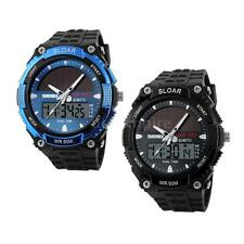 Ladies Women's Solar Powered Watches Dual Time Waterproof Sport Military Watch
