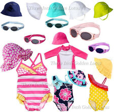 CUTE Baby/Infant Toddler Girls Swimsuit/Bathing Suit~Rashguard~Sun Hat~Sunglass